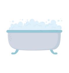 bathtube bubbles foam soap clean icon cartoon vector image