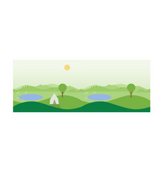 beautiful summer landscape with green meadows vector image