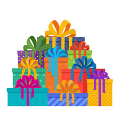 big pile of christmas gifts in holiday packages vector image