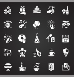 birthday party icons set on black background for vector image