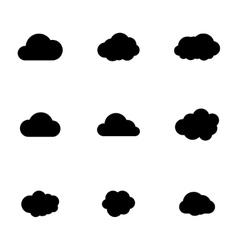 black cloud icons set vector image