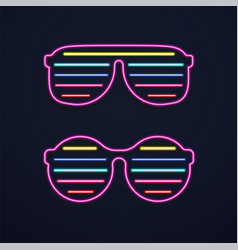 bright neon glasses sunglasses or club glasses vector image
