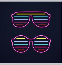 Bright neon glasses sunglasses or club glasses vector