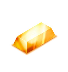 Bright realistic glossy golden bar in isometric vector