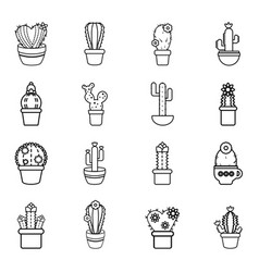 cactus flower icons set outline style vector image