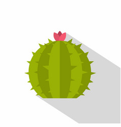 Cactus with flower icon flat style vector