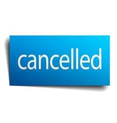 Cancelled blue square isolated paper sign on white vector