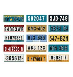 Car plates aluminum embossed retro auto numbers vector