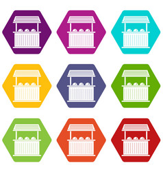 Carnival fair booth icon set color hexahedron vector