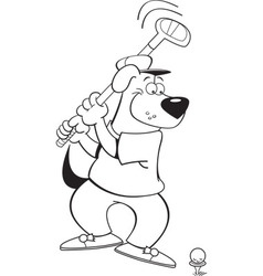 Cartoon dog playing golf vector