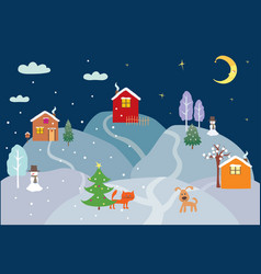 Christmas eve in a village vector