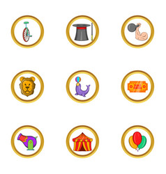 Circus icon set cartoon style vector