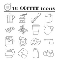 Collection of thin line coffee icons vector