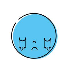 Color kawaii head with cute crying face vector