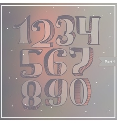 Colorful 3d digits on blur background vector