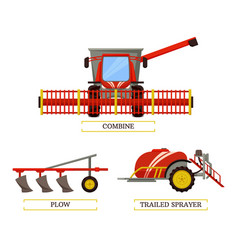 Combine and plow icons set vector