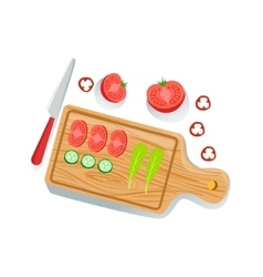 Cut Tomato Cucumber And Salad On Cutting Board vector