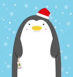 Cute big fat penguin wear christmas hat vector