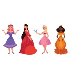 Cute collection of beautiful princesses vector image