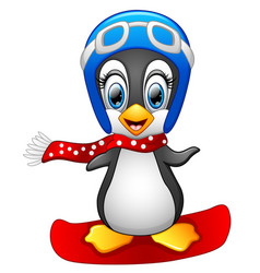 Cute penguin snowboarding vector