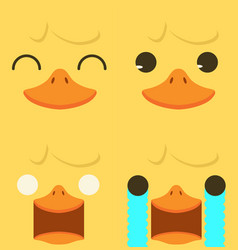 cute yellow duck emotion face set vector image