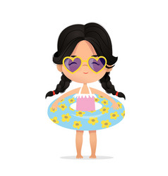 dark hair girl wearing sunglasses in inflatable vector image