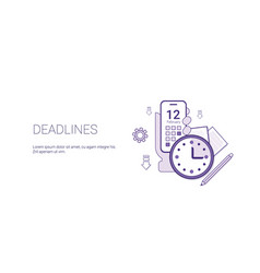 deadlines web banner with copy space business time vector image