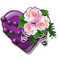 decor form heart purple color decorated with vector image
