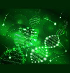 Deoxyribonucleic acid dna cosmos green sky vector