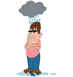 depressed angry man under raincloud vector image