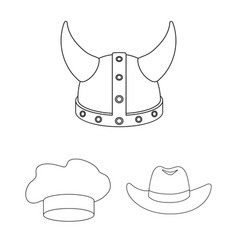 Different kinds of hats outline icons in set vector