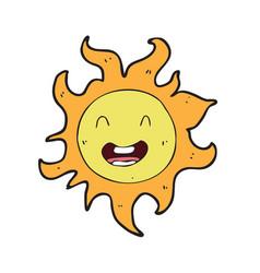 digitally drawn sun character design hand drawing vector image