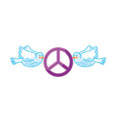 Doves flying with peace symbol isolated icon vector