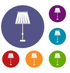 Floor lamp icons set vector