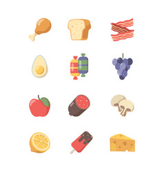 food icon coffee meat cakes pizza eggs and steak vector image