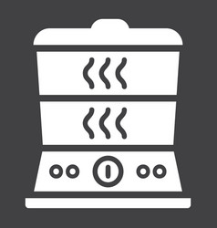 Food steamer solid icon kitchen and appliance vector