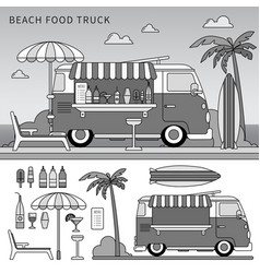 food truck on beach line monochrome vector image