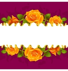 frame whit yellow roses vector image