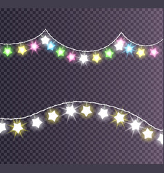 Garland made of shining big small glittering stars vector