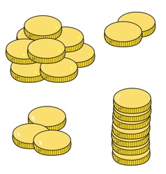 Gold coins isolated on white background vector