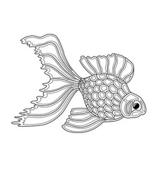 Gold fish line art design vector