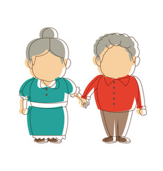 Grandpa and grandma standing lovely image vector