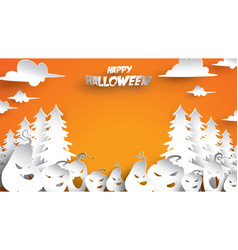 halloween background with pumpkin and fir forest vector image