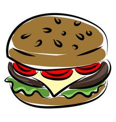 hamburger on white background vector image