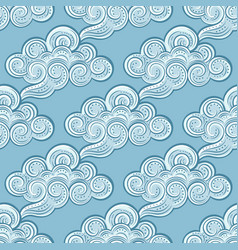 hand-drawn decorative clouds seamless pattern vector image