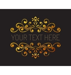 Hand drawn gold textured decorative border vector