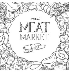 hand drawn meat product vector image