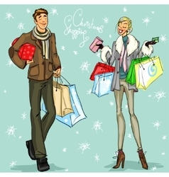 Happy couple with shopping bags and present boxes vector