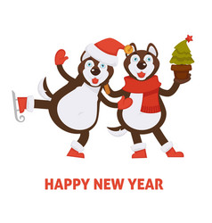 Happy new year 2018 dogs cartoon in santa hat and vector