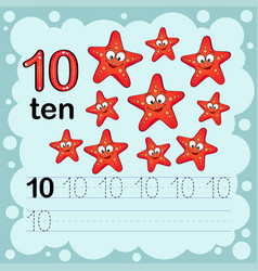How to count and write a number ten starfish vector